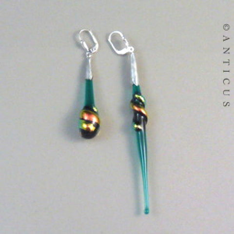 Dichroic Glass and Silver Asymetrical Earrings.
