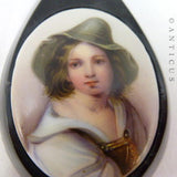 Painted Portrait Pendant, Large English Jet Mount.