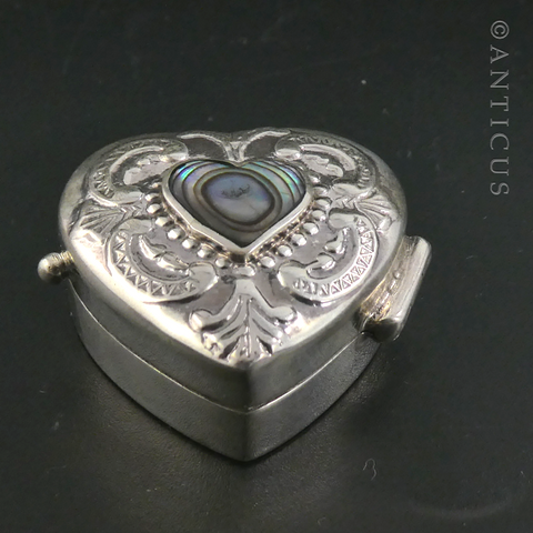 Silver and Paua Shell Heart-Shaped Pill Box.
