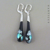 Handmade Dichroic Glass and Silver Drop Earrings.