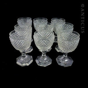 Antique Set of Eight Cut Glass Goblets.