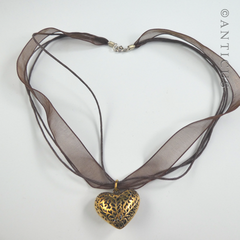 Polished Bronze Heart Pendant on Organza Ribbon.