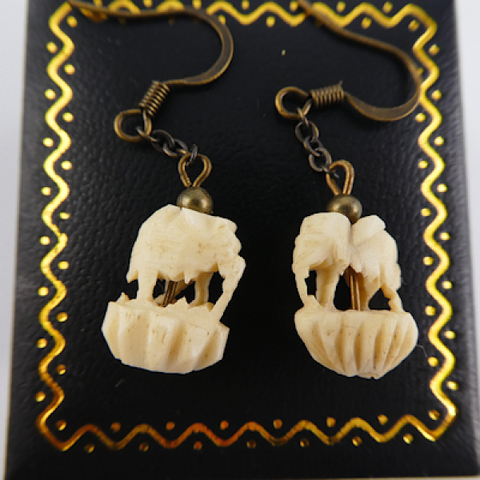 Carved Bone Elelphant Earrings.