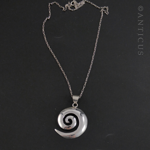 Sterling Silver Koru Pendant on Silver Chain.