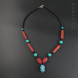 Handmade Necklace in Coral, Turquoise & Howlite.