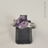 Silver and Amethyst Cross-Over Ring.