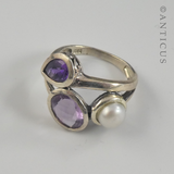 Free-Form Silver Ring,  Amethysts and Pearl.