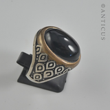 Man's Ring, Silver with Black Onyx Stone.