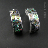 Half-Hoop Silver Earrings with Paua Shell Decoration.