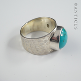 Hammered Silver Ring, with Turquoise Stone.