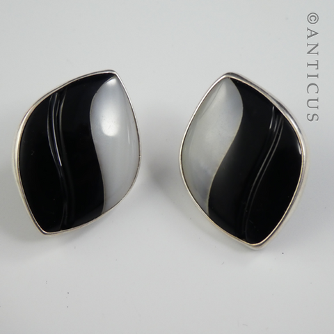 Black and White Art Glass Earrings, Silver Framed.