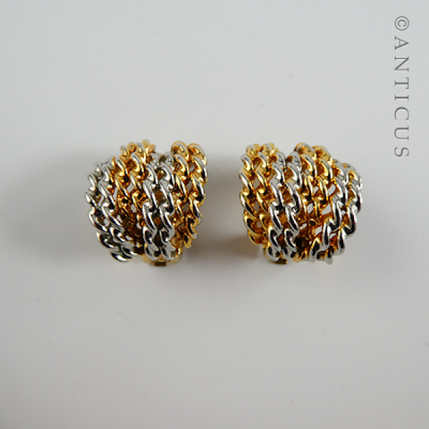 White and Yellow Gold Plate Clip Earrings.
