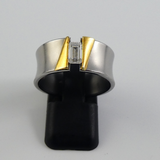 Modern Steel and Gold Plate Ring.