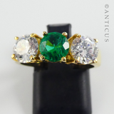 Gold Vermeil Ring with Green and Clear Stones.