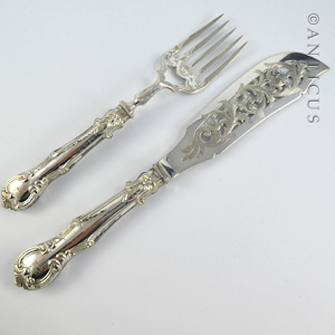 Pair of Fish Servers, Crested, Silver Plate.