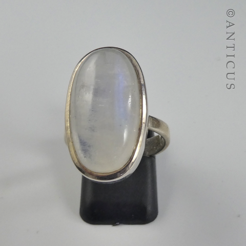 Rainbow  Moonstone Ring, Sterling Silver.