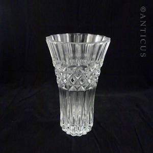 Large Heavy Crystal Vase.