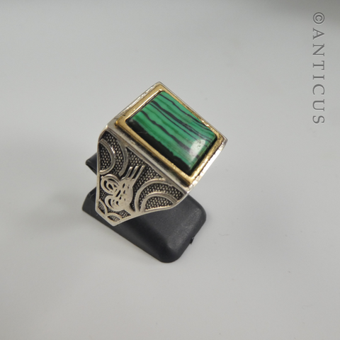 Man's Malachite and Silver Ring.