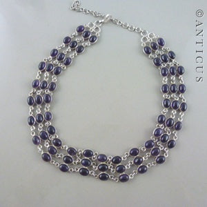 Sterling Silver and Amethyst Necklace.