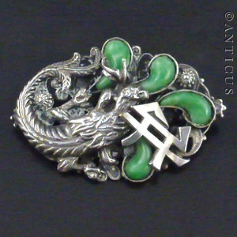 Chinese Silver and Jade Phoenix Brooch.