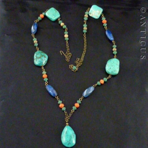 Long Turquoise, Lapis and Coral Necklace.