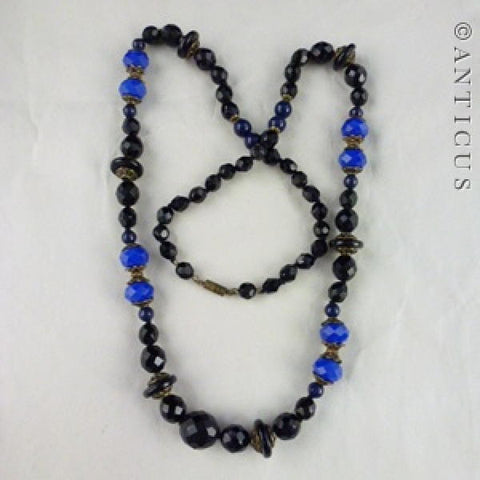 French Jet and Blue Glass Graduated Necklace.