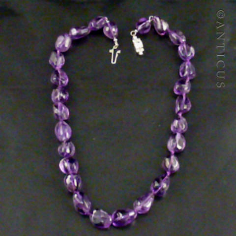 Polished Amethyst Chunks Necklace.