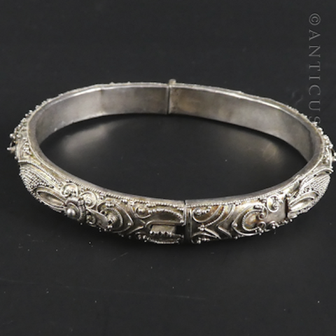 Silver South East Asian Snap Bangle.