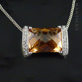 Large Golden Zirconia, on Sterling Silver Chain.