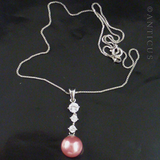 Pink Faux Pearl and CZ Pendant, 1980s.