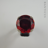 Large Red Crystal and Sterling Silver Ring.