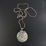 Abalone Shell Pendant with Silver Design.