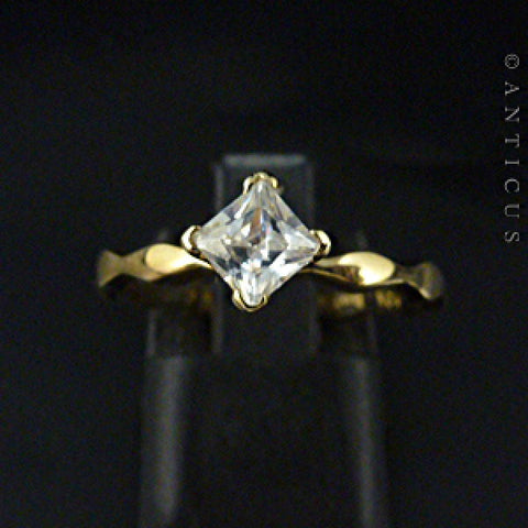 10K Gold Halia Ring, Fancy Band & Rhinestone Crystal.