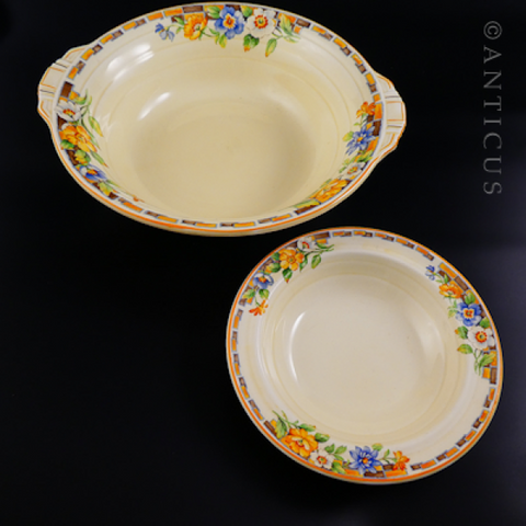 1930s Grindley Large Bowl & Matching Dessert Plate.