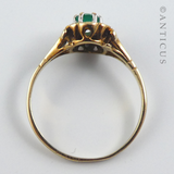 Diamond and Emerald Cluster Ring, Vintage.