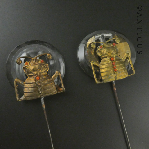 Pair of Art Deco Long Hatpins, Insects.