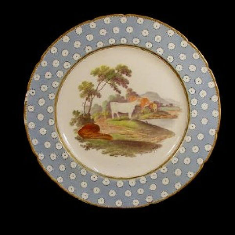 Georgian Period Plate with Handpainted Cow Scene.