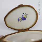 Porcelain Lute-Shaped Trinket Box, Sevres Style.