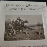 1910 Postcard, Calendar, Verse and Hunting Scene.