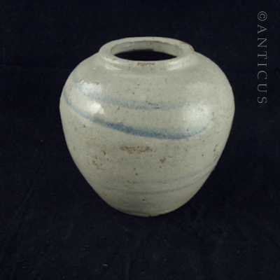 Grey and Blue Ginger Jar, Old Chinese Stoneware.