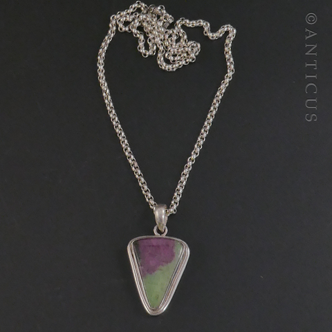 Ruby Zoisite Pendant on Silver Chain.