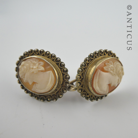 1930's Cameo Earrings, Gilded Silver Mount.