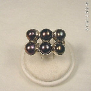 Black Pearl and Sterling Silver Ring.