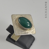 Silver and Green Agate Modern Ring.