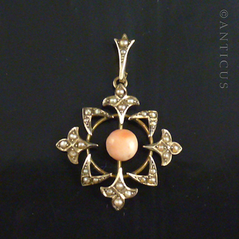 Gold, Coral and Seed Pearl Edwardian Pendant.