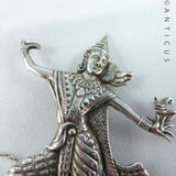 Sterling Silver Siamese Dancer Brooch.