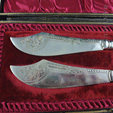 Antique Victorian Cased Pair of Butter Knives.
