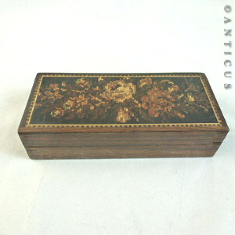 Small Tunbridge Ware Box, Inlaid with Roses.