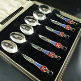 Boxed Danish Silver Plate and Enamel Guardsman Spoons.