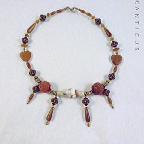 Vintage Necklace, Carved Cornelian and Horn.
